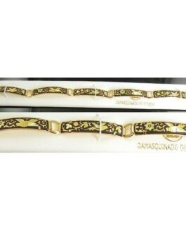 Damascene Gold Link Bracelet Rectangle Bird by Midas of Toledo Spain style 800011