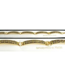 Damascene Gold Link Bracelet Rectangle Geometric by Midas of Toledo Spain style 800011