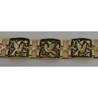 Damascene Gold Link Bracelet Square Bird by Midas of Toledo Spain style 800012