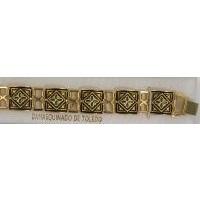 Damascene Gold Link Bracelet Square Geometric by Midas of Toledo Spain style 800012