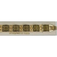 Damascene Gold Link Bracelet Square Star of David by Midas of Toledo Spain style 800012