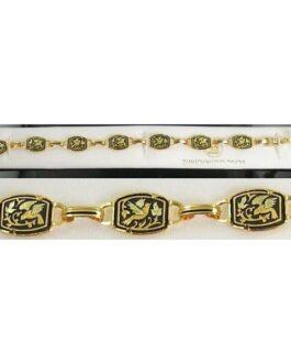 Damascene Gold Link Bracelet Rectangle Bird by Midas of Toledo Spain style 800013