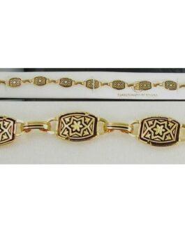 Damascene Gold Link Bracelet Rectangle Star of David by Midas of Toledo Spain style 800013