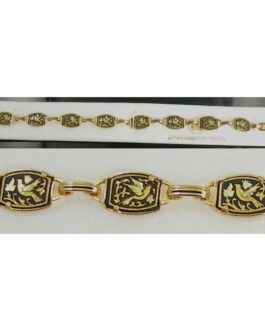 Damascene Gold Link Bracelet Rectangle Bird by Midas of Toledo Spain style 800014