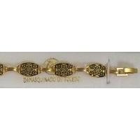 Damascene Gold Link Bracelet Rectangle Star of David by Midas of Toledo Spain style 800014