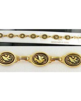 Damascene Gold Link Bracelet Oval Bird by Midas of Toledo Spain style 800015