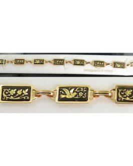 Damascene Gold Link Bracelet Rectangle Bird by Midas of Toledo Spain style 800016