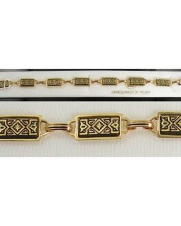 Damascene Gold Link Bracelet Rectangle Geometric by Midas of Toledo Spain style 800016