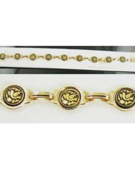 Damascene Gold Link Bracelet Round Bird by Midas of Toledo Spain style 800018