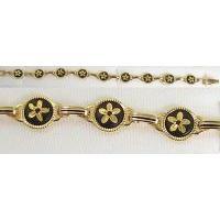 Damascene Gold Link Bracelet Round Flower by Midas of Toledo Spain style 800018
