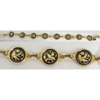 Damascene Gold Link Bracelet Round Bird by Midas of Toledo Spain style 800020