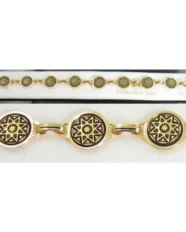 Damascene Gold Link Bracelet Round Star by Midas of Toledo Spain style 800020