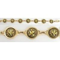 Damascene Gold Link Bracelet Round Bird by Midas of Toledo Spain style 800021