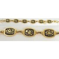 Damascene Gold Link Bracelet Rectangle Bird by Midas of Toledo Spain style 2055