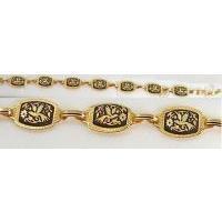 Damascene Gold Link Bracelet Rectangle Bird by Midas of Toledo Spain style 2056