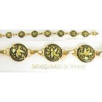 Damascene Gold Link Bracelet Round Bird by Midas of Toledo Spain style 800022