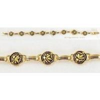 Damascene Gold Link Bracelet Round Bird by Midas of Toledo Spain style 800023