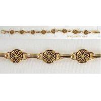 Damascene Gold Link Bracelet Round Geometric by Midas of Toledo Spain style 800023
