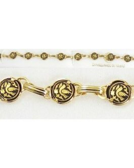Damascene Gold Link Bracelet Round Bird by Midas of Toledo Spain style 850024