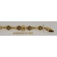 Damascene Gold Link Bracelet Round Geometric by Midas of Toledo Spain style 850024