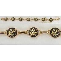 Damascene Gold Link Bracelet Round Bird by Midas of Toledo Spain style 800009