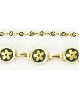 Damascene Gold Link Bracelet Round Flower by Midas of Toledo Spain style 800017