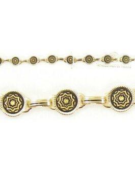 Damascene Gold Link Bracelet Round Star by Midas of Toledo Spain style 800017