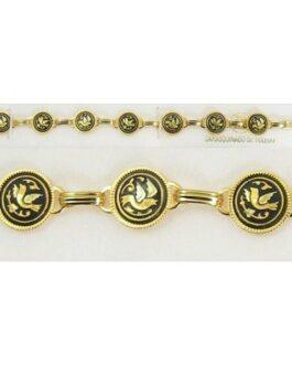 Damascene Gold Link Bracelet Round Bird by Midas of Toledo Spain style 800019