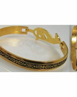 Damascene Gold Geometric Bracelet by Midas of Toledo Spain style 2093