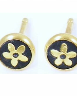 Damascene Gold 6mm Flower Earrings by Midas of Toledo Spain style 810001