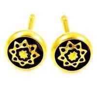 Damascene Gold 6mm Star Earrings by Midas of Toledo Spain style 810001