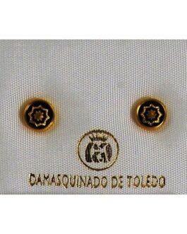 Damascene Gold 6mm Geometric Earrings by Midas of Toledo Spain style 810001