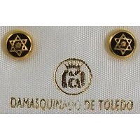 Damascene Gold 6mm Star of David Earrings by Midas of Toledo Spain style 810001