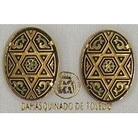 Damascene Gold 20mm x 14mm Oval Star of David Stud Earrings by Midas of Toledo Spain style 810002