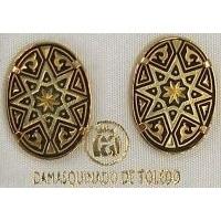Damascene Gold 20mm x 14mm Oval Star Stud Earrings by Midas of Toledo Spain style 810002