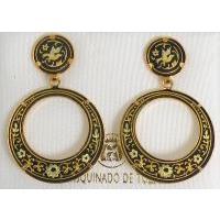 Damascene Gold Bird 28mm Round Drop Earrings by Midas of Toledo Spain style 813004