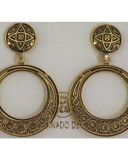 Damascene Gold Geometric 28mm Round Drop Earrings by Midas of Toledo Spain style 813004