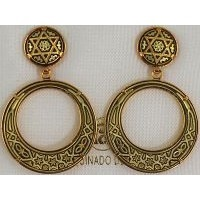 Damascene Gold Star of David 28mm Round Drop Earrings by Midas of Toledo Spain style 813004