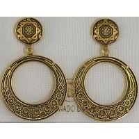 Damascene Gold Star 28mm Round Drop Earrings by Midas of Toledo Spain style 813004