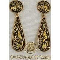 Damascene Gold Bird Teardrop Drop Earrings by Midas of Toledo Spain style 813012