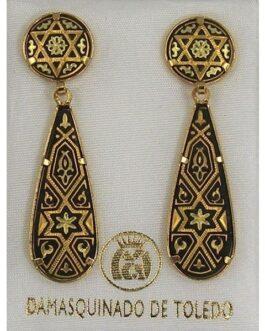 Damascene Gold Star of David Teardrop Drop Earrings by Midas of Toledo Spain style 813012