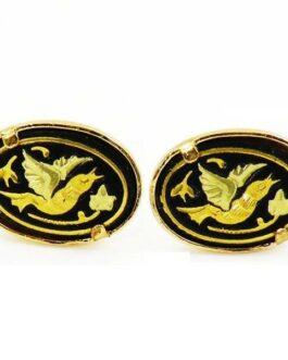 Damascene Gold Oval Bird Earrings by Midas of Toledo Spain style 810010