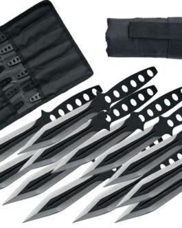 6″ 12PC BLACK STREAK THROWING KNIFE SET