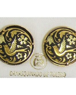 Damascene Gold 17mm Round Bird Stud Earrings by Midas of Toledo Spain style 810003
