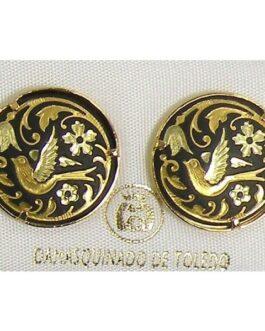 Damascene Gold 17mm Round Bird Stud Earrings by Midas of Toledo Spain style 810003
