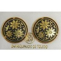 Damascene Gold 17mm Round Flower Stud Earrings by Midas of Toledo Spain style 810003