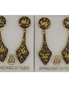 Damascene Gold Deltoid Bird Stud Drop Earrings by Midas of Toledo Spain style 813010