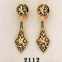 Damascene Gold Earrings by Midas of Toledo Spain style 813010