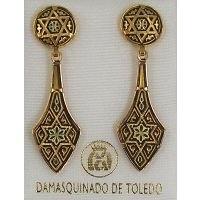 Damascene Gold Deltoid Star of David Stud Drop Earrings by Midas of Toledo Spain style 813010