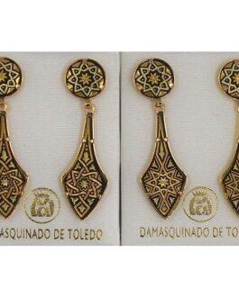 Damascene Gold Deltoid Star Stud Drop Earrings by Midas of Toledo Spain style 813010